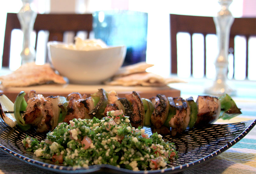Greek Dinner Recipe - Tzatziki Sauce, Pita Bread, Tabouleh and Chicken Souvlaki